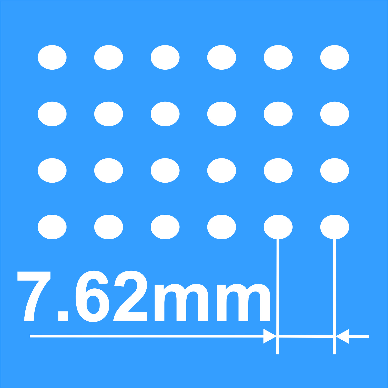 High resolution - 7.62 mm pixel pitch.