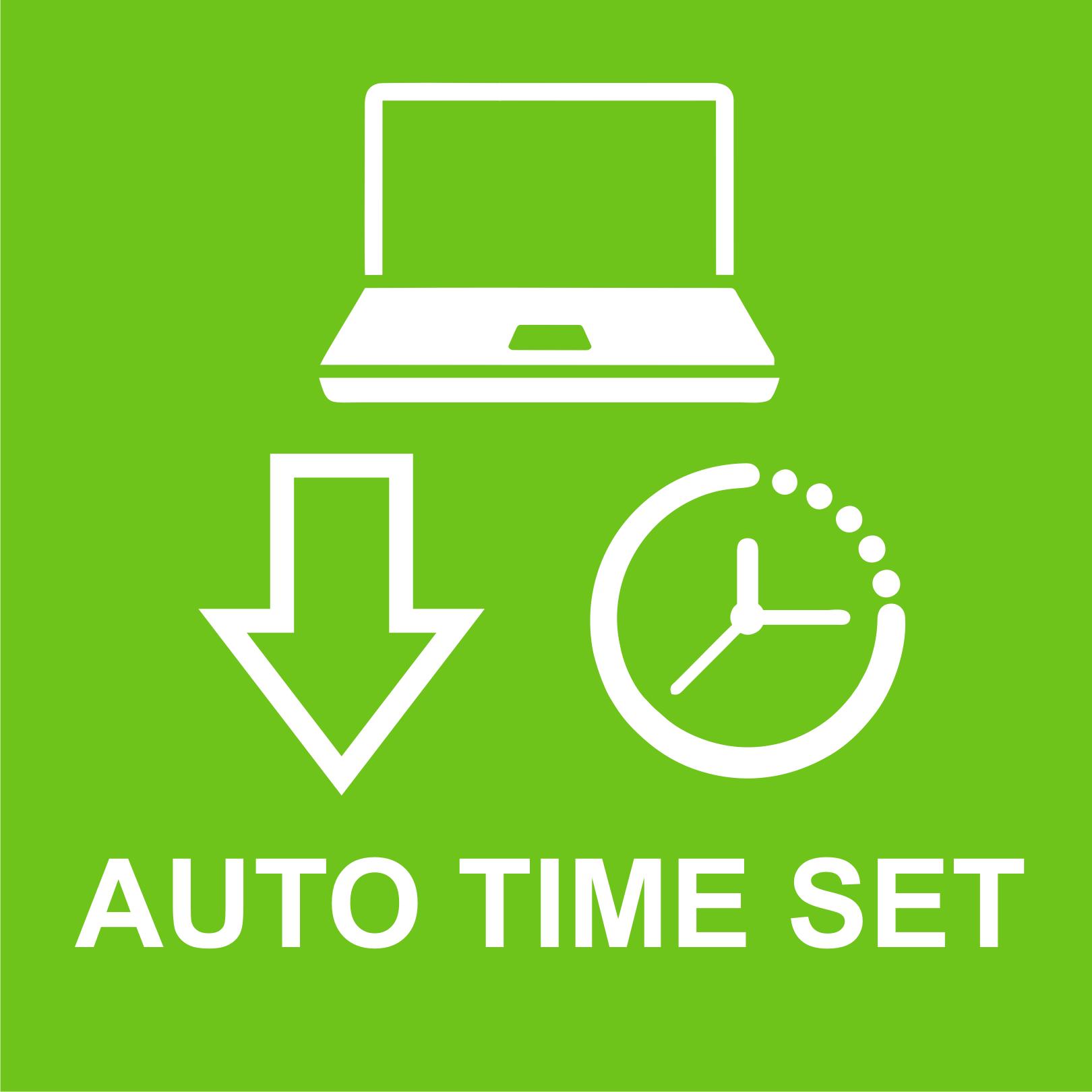 Automatyczna synchronizacja czasu z programu na komputerze przez LAN lub WiFi.