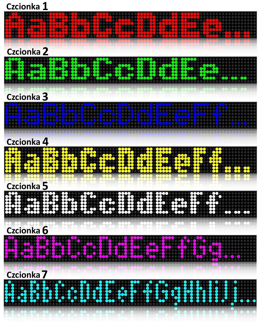 Czcionki na telebimie diodowym kolorowym